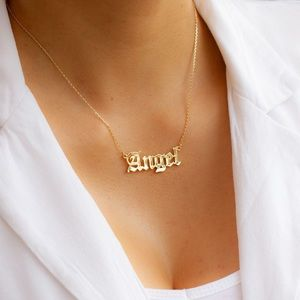 """ANGEL 16"""" Gold Plated Nameplate Necklace"""